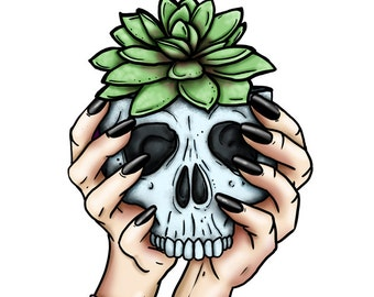 Skull Planter - Succulent - A4 Art Print by Hungry Designs