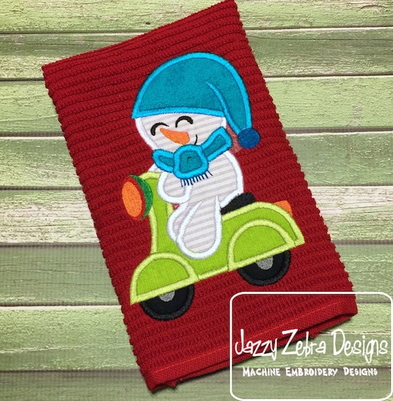 Snowman on scooter Applique Embroidery Design - Snowman appliqué design - boy appliqué design - scooter appliqué design - snow boy appliqué