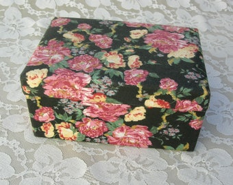 Floral Fabric Covered, Hinged Treasure Box for jewelry, keepsakes, travel treasures, souvenirs, as a gift box, etc., 6 1/4x4 1/4""