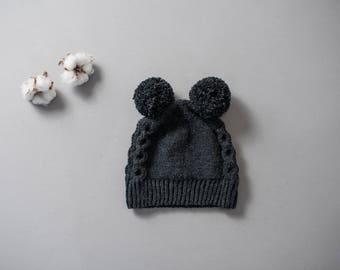 Little Bear beanie, 100% merino wool, warm pompom kids beanie