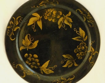 """Vintage Black Round Metal Toleware Tray, 19"""" Serving Platter, Gold Grape Clusters, Hand Painted Toleware, Country Chic, Farmhouse Decor,"""