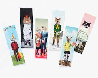 Set of 6 funny cat bookmarks. Offer them to all your cat loving friends