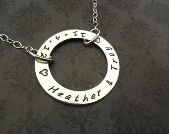 Hand Stamped Jewelry- Hand Stamped Necklace-Custom Jewelry- Washer- Family necklace