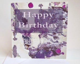 Purple Splodge Birthday Card