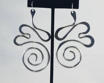 Aluminum spiral tailled heart statement large lightweight earrings