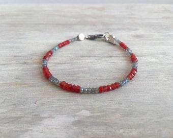 Carnelian and Labradorite Minimal Bracelet, men's bracelet, men's jewelry, minimalist bracelet