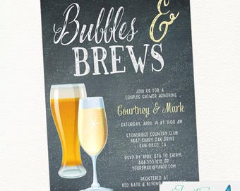 Bubbles and Brews Couples Shower, Bridal Shower, Champagne Invitation, Beer Invitation, Bubbles and Brews Engagement Party, Brewery Invite