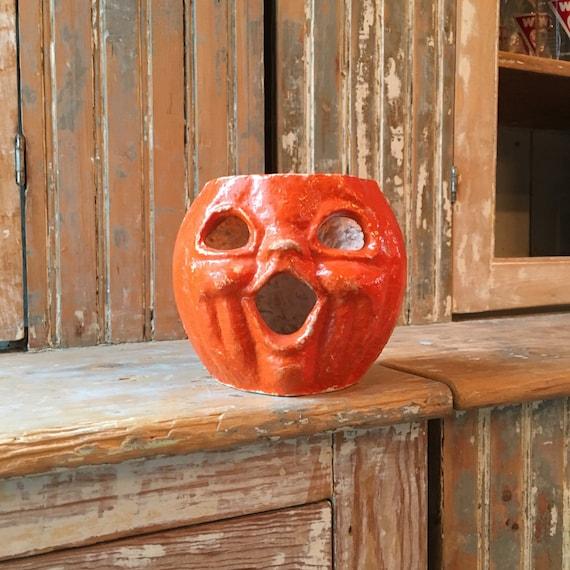 Antique Paper Mache Pumpkin, 1930s Halloween Decor, Vintage Paper Mache Pumpkin Candy Holder, Jack O Lantern