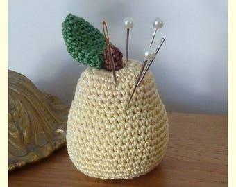 Pincushion, pear, plush crochet, Amigurumi