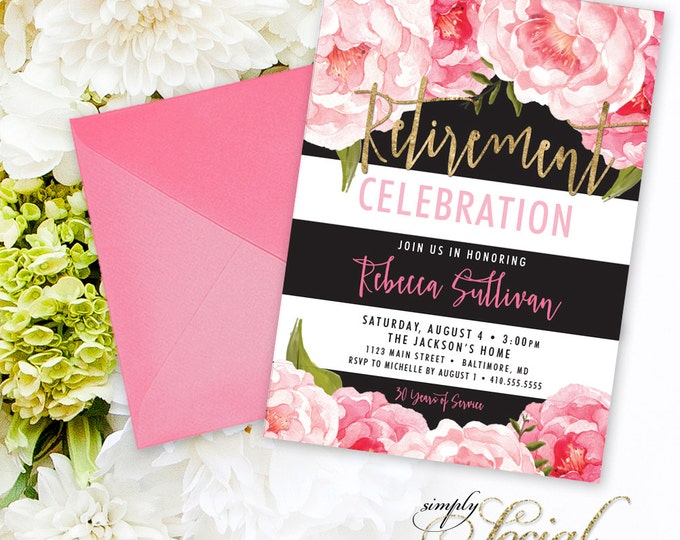 Floral Retirement Party Invitation - Black Stripes Pink Peony Ranunculus and Faux Gold Foil Watercolor Floral Boho  Printable