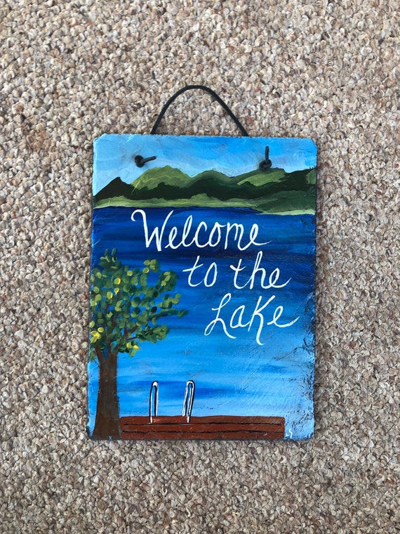 Summer door hanger, Lake House sign, Lake house decor, welcome sign, Painted Slate, wall hanging, door hangers, cottage decor