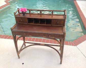 RATTAN WOVEN DESK / Pull Out desk Top / Palm Beach Rattan Woven Writing Desk / Expandable desk top Hollywood Regency style Retro Daisy Girl