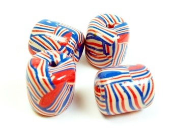 NOW ON SALE Handmade Polymer Clay Coral, Blue and Cream Beads