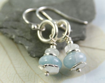Aquamarine Dangle Earrings, Organic Looking Silver Discs and Rings | March Birthday Gift | Aquamarine Earrings, Silver Earrings | Light Blue