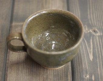 12 oz Mug, Rustic Speckled Green Mug - Coffee, Tea, Latte - Large Cup - Hand Made Pottery - Woodland Inspired - Olive Green Mug - Gift