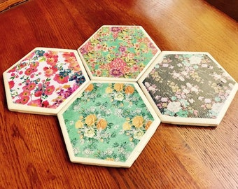 Chic, Floral, Coaster set. (Set of 4.)
