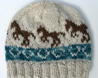 Knit Fair Isle Hat with Jumping Horses