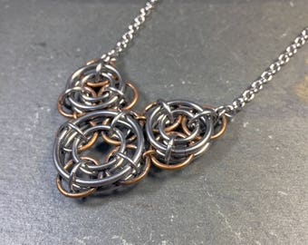 Mechanika Necklace Surgical Stainless Steel and Aged Bronze Steampunk Chainmaille