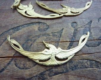 Brass Stamping Ornate Art Nouveau Brass Crane Bird Stamping  (1)