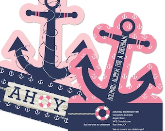 Ahoy - Nautical Girl Party Invitations - Printed Birthday Party Supplies - Set of 12