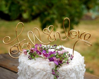 Fall In Love Cake Topper For Rustic Autumn Wedding Reception