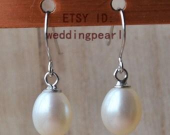 pearl earings, dangle pearl earrings, AAA white pearl earring, 6-7mm freshwater pearl earrings, sterling silver earrings, wedding earrings