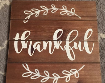 Rustic Thankful Wood Sign for Home Decor