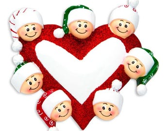 Heart with Faces 7 Personalized Christmas Ornament