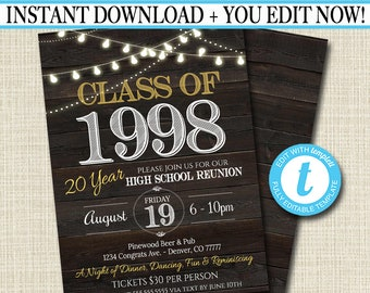 Editable Reunion Invitation Template - Any Year!  College Reunion High School Reunion Party Lights Faux rustic wood invite  INSTANT DOWNLOAD