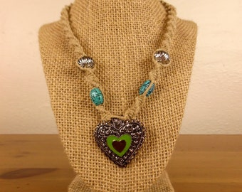 Hemp Necklace with Heart Pendant