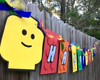 Building Block/Brick Rainbow (ROYGB) Happy Birthday Banner