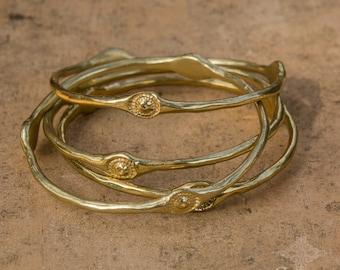 Stacking Gold Bracelet Bangle, Byzantin Bracelet, Gold Bangle Bracelet, 24K Gold Plated Bracelets, Boho Jewelry, Sagia