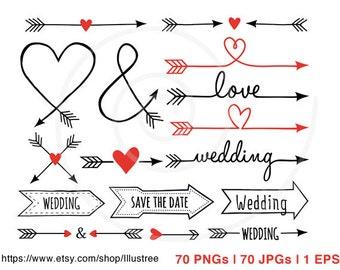 70 Wedding clip art, arrow clipart, wedding invitation, aztec, tribal, digital clipart set, commercial use, EPS, SVG, instant download