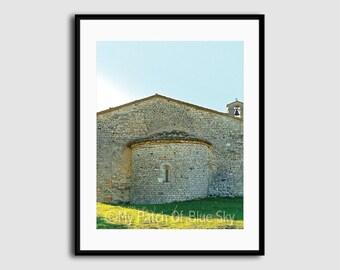 Printable Color Photo, Instant Download, 300 dpi JPG, Italy, Roman Road, Stone Building, Grey, Rustic, Dramatic, Closeup, Grass, Sky