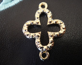 18k gold over 925 sterling silver  sideways cross charm, connector, vermeil cross connector, charm, shiny gold
