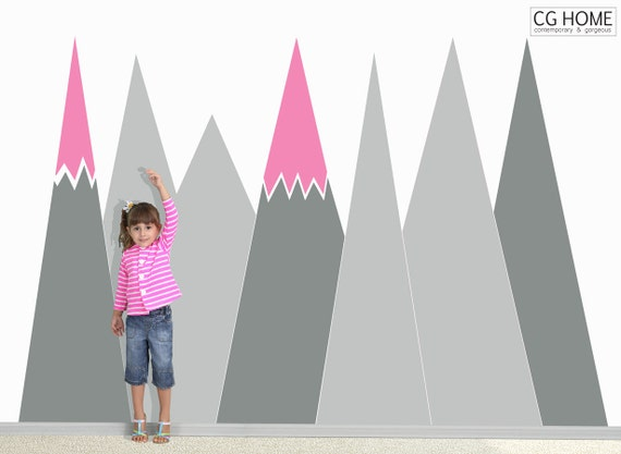 Baby Room Decals Mountain Wall Decal Nursery Crib Pattern Kid Toddler Room Customized Personalized Removable Headboard Sticker #mountains022