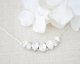 Rhinestone teardrop bridal necklace, Bridesmaid gift, Simple crystal wedding necklace, Sterling silver bridal jewelry, Crystal necklace