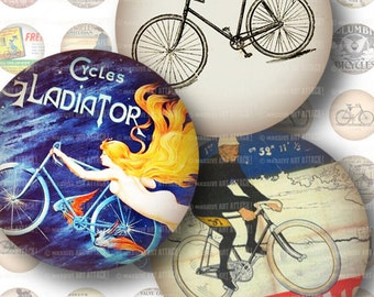 Bicycles, Vintage Ads . Digital Collage Sheet 204 . 1 inch circles
