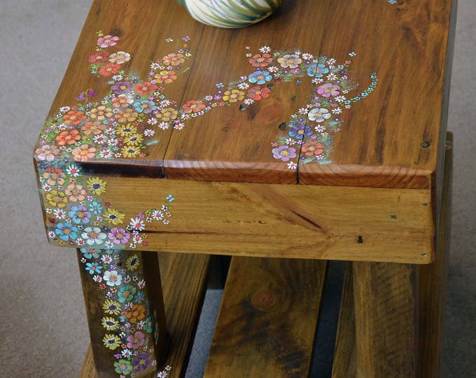 FREE UK SHIPPING Rustic Reclaimed Wood Side Table Handpainted English Country Cottage Flower Design Bronze Tacks Undershelf Storage