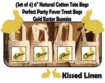 Personalized Gold Easter Bunny Rabbit Party Favor Treat Birthday Bags -  Mini Cotton Totes Kids Party Bags - Set of 4