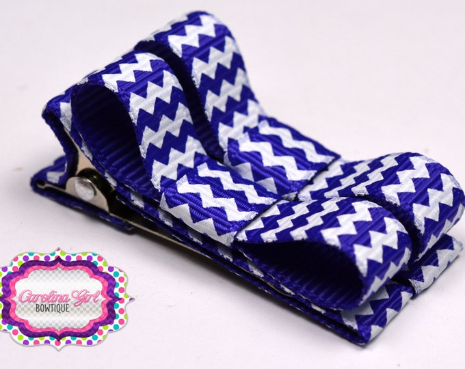 Purple  Chevron Hair Clips Basic Tuxedo Clips Alligator Non Slip Barrettes for Babies Toddler Girl Set of 2