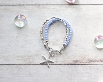 Mermaid Birthday Girl Party Favor, Little Girl Gift, Beach Theme Flower Girl Bracelet, Double Strand Seed Bead Bracelet, Starfish Bracelet