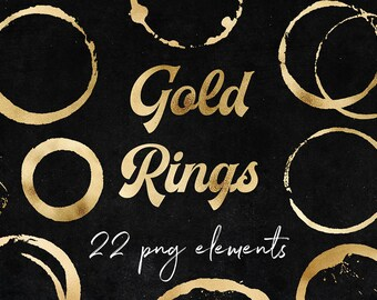 Gold Rings Clipart, Glamour Gold Stains, Shiny Gold Circles, Gold Logo Strokes, Perfect For Scrapbooking, Cards, Graphic Design, BUY3FOR6