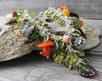 Lampwork pendant, lampwork necklace, glass flower pendant, lampwork flower necklace, glass necklace, flower pendant, flower necklace