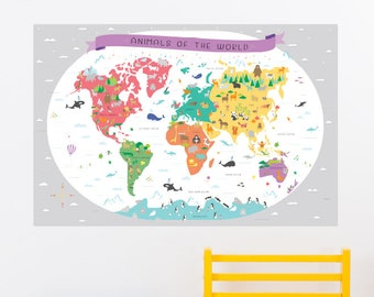 Animals of the World Removable Wall Sticker