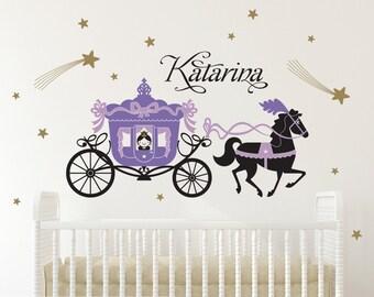 Princess Cinderella Horse & Carriage Wall Decal with Name Princess Room Decor