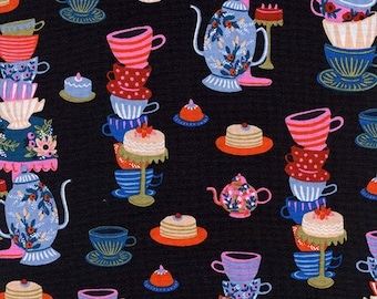 Wonderland Mad Tea Party in Black - by Rifle Paper Co for Cotton+Steel - 100% cotton quilting fabric by the yard