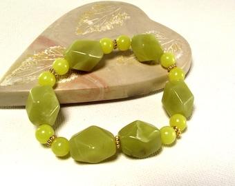 Chunky Olive Jade Bracelet - Green Bracelet - Olive Green Bracelet