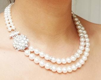 Pearl Wedding Necklace, Bridal Jewelry, Vintage Wedding Jewelry, Art Deco Bridal Jewelry, Crystal Wedding Necklace, ELIZABETH