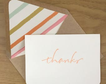 "Embossed ""Thanks"" Stationery, handwritten print, striped envelope liner (set of 10)"
